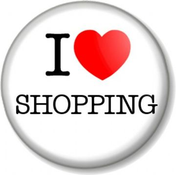I Love / Heart SHOPPING Pinback Button Badge Designer Clothes Shoes Fashion